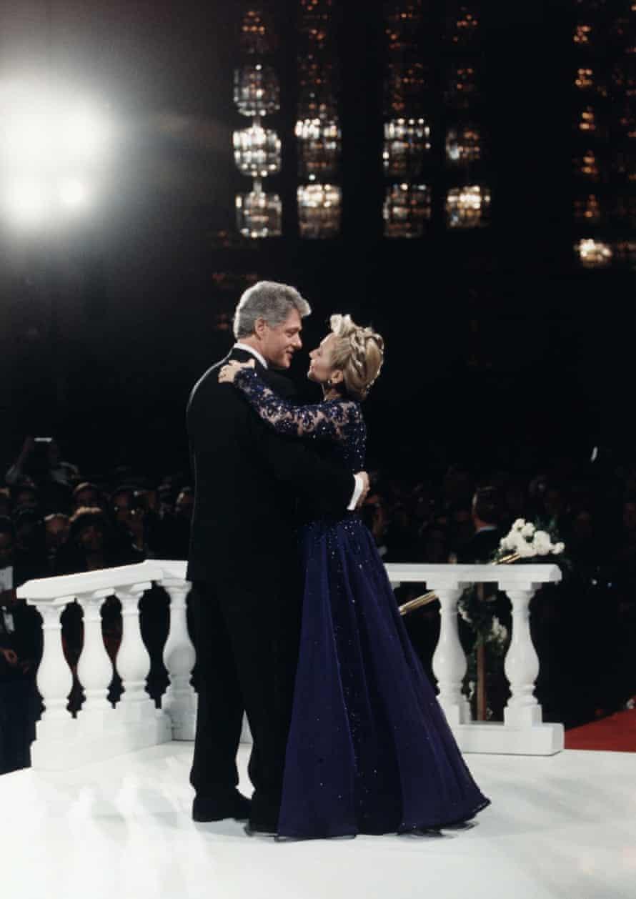 Bill Clinton and Hillary Rodham Clinton dancing at an 1993 inaugural ball.