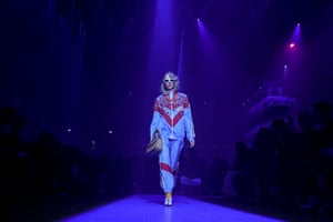 Shellsuits Heads up: where Alessandro Michele goes, the fashion pack follow, and his ode to Elton John on the September Gucci catwalk via a blue, red and white shellsuit stole the show.