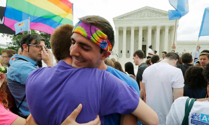 Equal rights supporters celebrate after the supreme court ruled that the US constitution provides same-sex couples the right to marry, on 26 June 2015 in Washington DC.