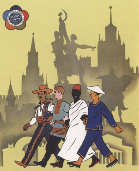 This poster from 1957, shows a multicultural group exploring Moscow sights.