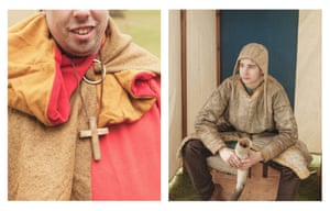 A Norman re-enactor shows off his cross; Peter Raven as a Norman peasant