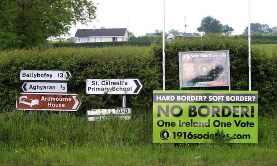 Anti Brexit signs on the Corgary Road, Northern Ireland