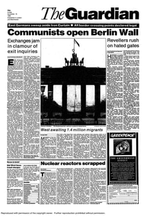 Guardian front page: 'Communists open Berlin Wall'