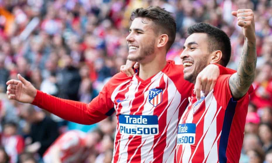 Atlético Madrid players Lucas Hernandez and Angel Correa