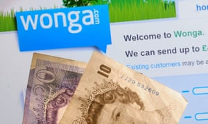 Wonga logo with £10 and £20 notes