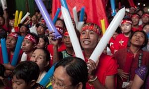 Supporters of Myanmar opposition leader Aung San Suu Kyi' celebrate in Yangon.