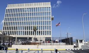 A US flag flies at the American embassy in Havana, Cuba.