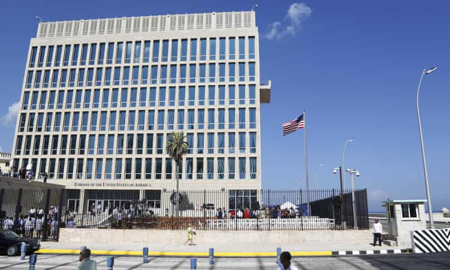 A US flag flies at the American embassy in Havana, Cuba.