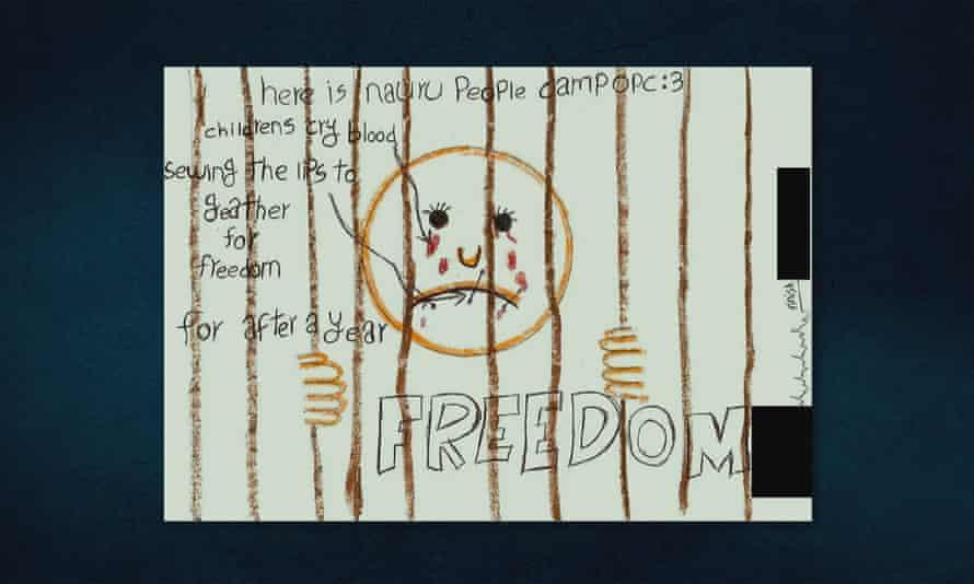 A drawing from Nauru Island in a still from the 2016 Australian documentary Chasing Asylum