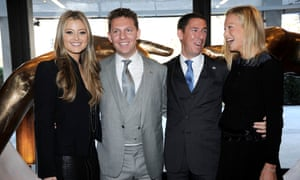 Property developers Nick and Christian Candy with their wives Holly, left, and Emily, at the opening dinner for One Hyde Park.