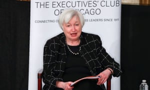 US Federal Reserve chair Janet Yellen addresses the Executives' Club of Chicago last week. She could soon raise interest rates.