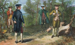 Illustration of Alexander Hamilton and Aaron Burr preparing to duel.