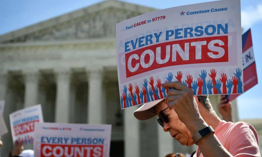 Demonstrators rally at the supreme court in Washington last year to protest a proposal to add a citizenship question to the census.