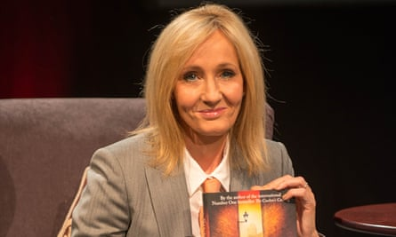 JK Rowling as her alto ego Robert Galbraith promoting her second crime novel, The Silkworm, at Harrogate Crime Writing Festival.