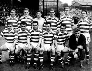 Billy McNeill, pictured here- back row, second right - in in August 1961, joined Celtic from nearby junior team, Blantyre Victoria, and made his debut on 23 August 1958