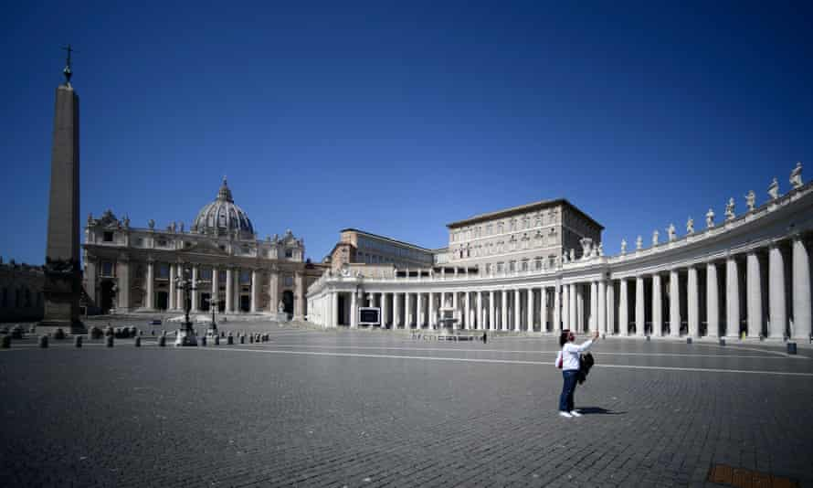 A deserted St Peter's Square on Easter Sunday