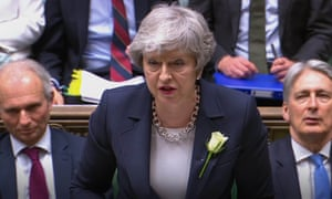 Theresa May speaks during Prime Minister's Questions in the House of Commons on 8 May.