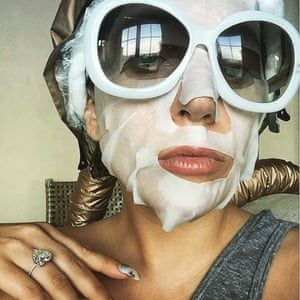 Lady Gaga wearing a sheet mask on instagram.