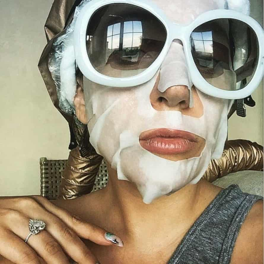 Lady Gaga wearing a sheet mask on instagram.