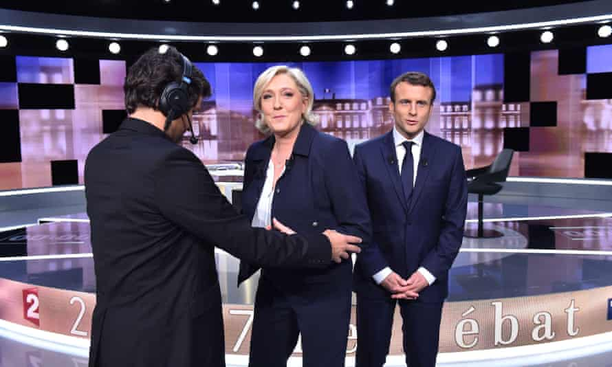 French presidential election candidate debate between Marine Le Pen and Emmanuel Macron.