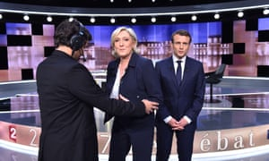 Marine Le Pen and Emmanuel Macron prepare for a live TV debate, May 2017.