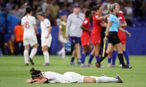 England's Lucy Bronze looks dejected after the match.