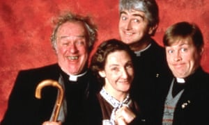 Frank Kelly, left as as Father Jack, with Pauline McLynn as Mrs Doyle, Dermot Morgan as Father Ted Crilly and Ardal O'Hanlon as Father Dougal.