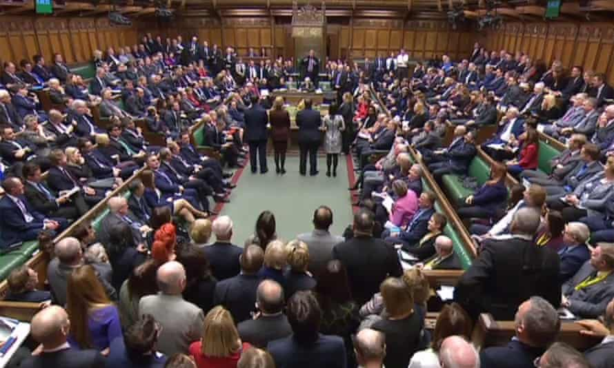 A video grab shows MPs in the House of Commons as the outcome of the vote.