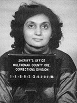 Ma Anand Sheela of the Rajneesh sect poses for a mugshot in Mulnomah County, Oregon in 1985.