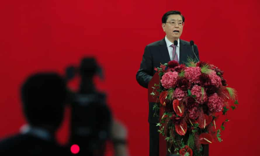 Zhang Dejiang is filmed as he delivers his speech during a banquet in Hong Kong on Wednesday.
