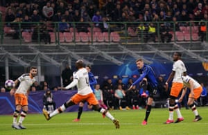 Atalanta's Josip Ilicic fires home Atalanta's second goal in their 4-1 win over Valencia in their Champions League round of 16, first leg match.