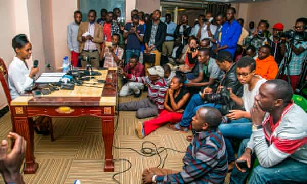 Diane Rwigara gives a press conference after announcing her plans to run for president