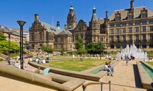 Peace Gardens and Town Hall Sheffield, UK