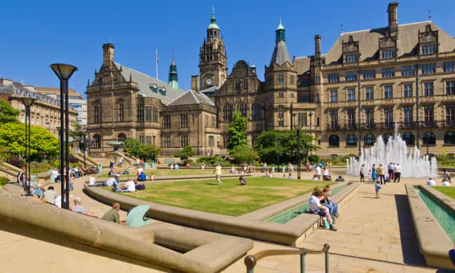 Sheffield's Peace Gardens and town hall