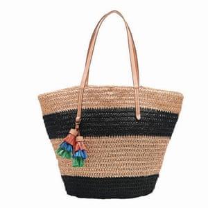 black and natural raffia striped bag, JCrew