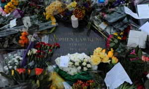 A memorial stone in Eltham, south London, where Stephen Lawrence was murdered.