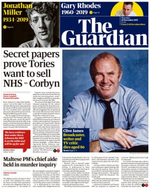 Guardian front page, Thursday 28 November 2019