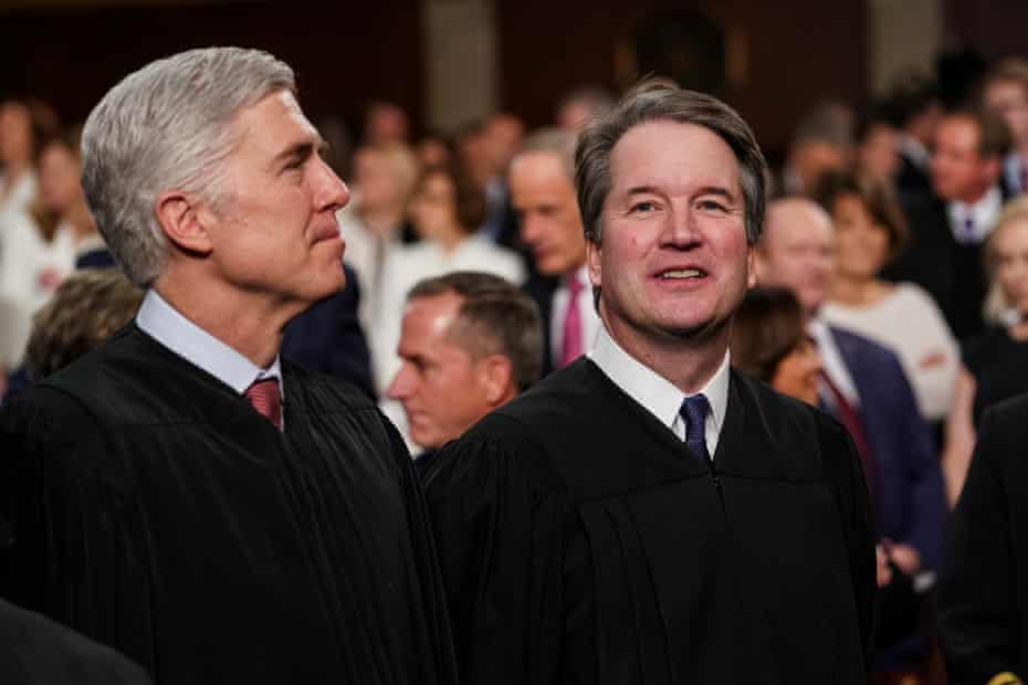 Supreme court Justices Neil Gorsuch and Brett Kavanaugh attend the State of the Union address on 4 February 2020 in Washington DC