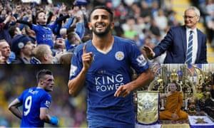 Leicester composite: fans, Riyad Mahrez, Claudio Ranieri, Phra Prommangkalachan, Jamie Vardy.