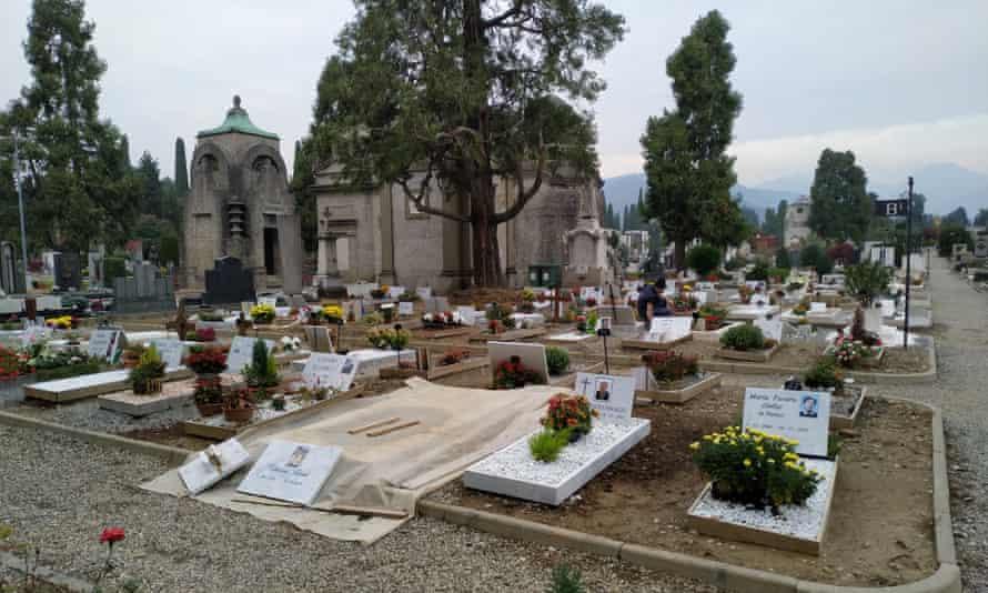 A plot reserved for Covid victims in Bergamo's main cemetery.