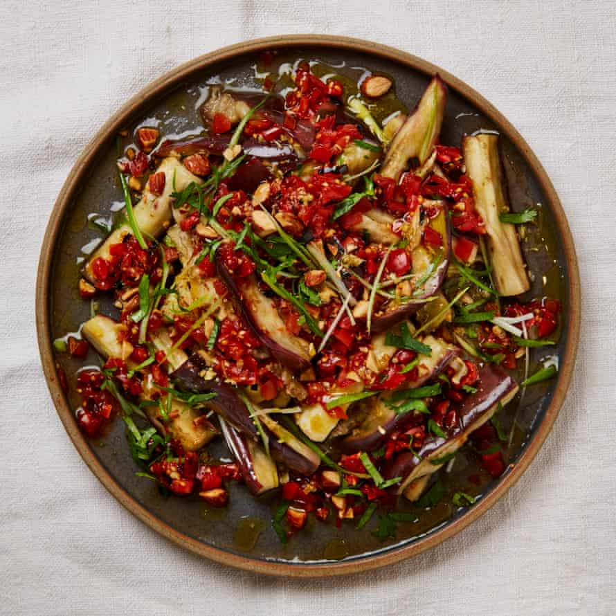 Yotam Ottolenghi's steamed aubergine with charred chilli salsa
