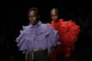 Models walk the runway during the Alberta Ferretti fashion show during Milan Fashion Week Fall/Winter 2020-2021