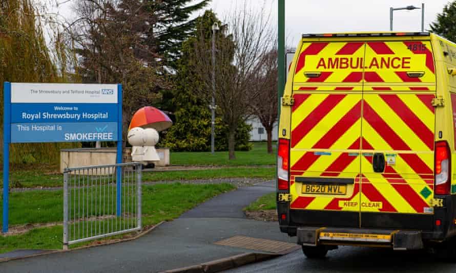 An ambulance outside the Royal Shrewsbury Hospital, Shropshire