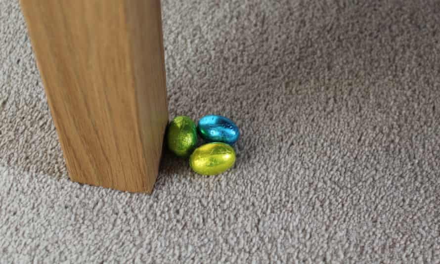 chocolate eggs on a carpet
