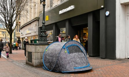 Homeless man's tent on the street in Old Christchurch Road in Bournemouth.