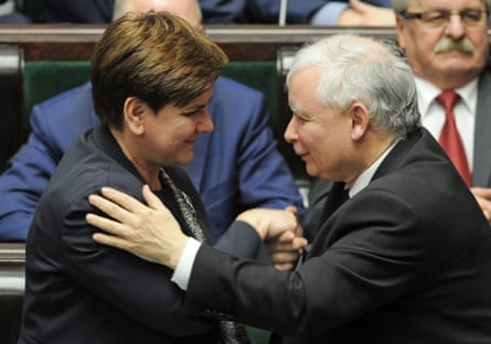 Leader of the ruling Law and Justice party, Jarosław Kaczyński, right, and the prime minister, Beata Szydło, left, congratulate each other after lawmakers voted a new law on the constitutional court.