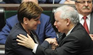 Jarosław Kaczyński with Beata Szydło