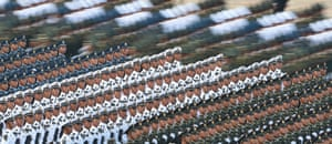 Troops prepare for the military parade.