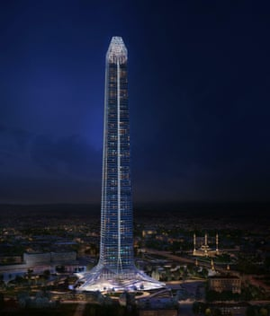 An architect's render of the 102-storey Akhmat Tower, billed as the tallest building in Europe.