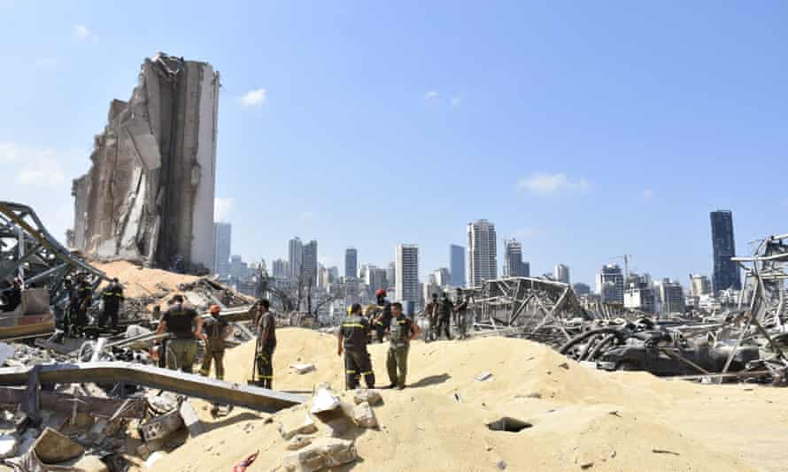 Search and rescue teams on the site of the Beirut port explosion.